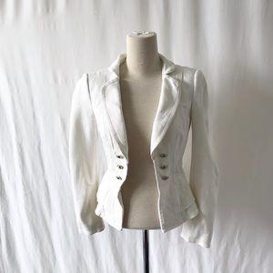 White House Black Market white ruffle jacket 00